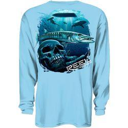 Reel Legends Mens Cuda Skull Long Sleeve T-Shirt