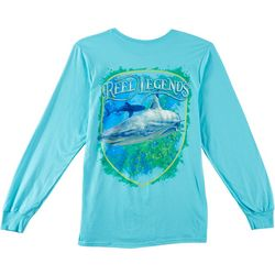 Reel Legends Mens Shark Angler Long Sleeve T-Shirt