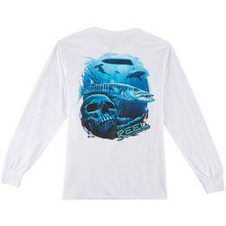 Reel Legends Mens Barracuda Skull Long Sleeve T-Shirt