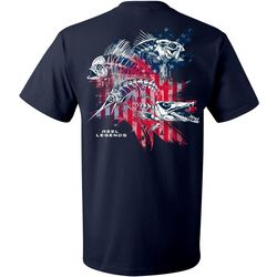 Reel Legends Mens Skeletal Flag Short Sleeve T-Shirt