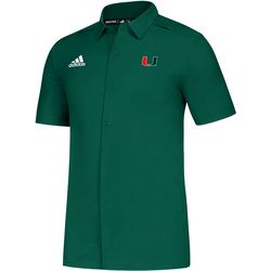 Miami Hurricanes Mens Sideline Button Down Shirt by Adidas