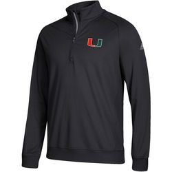 Miami Hurricanes Mens Zipper Placket Pullover by Adidas