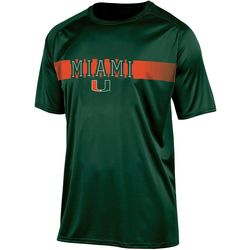 Miami Hurricanes Mens Logo Stripe T-Shirt by Champion