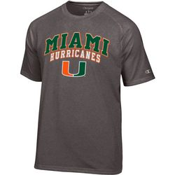 Miami Hurricanes Mens Logo Print T-Shirt by Champion