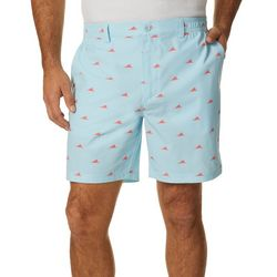 Tackle & Tides Mens Shark Fin Print Front Zip Shorts