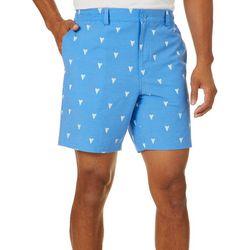 Tackle & Tides Mens Shark Tooth Print Front Zip Shorts