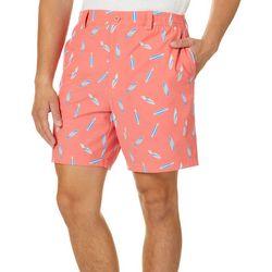 Tackle & Tides Mens Surfboard Print Front Zip Shorts