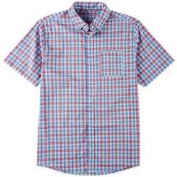 Tackle & Tides Mens Plaid Yarn Dyed Short Sleeve Shirt