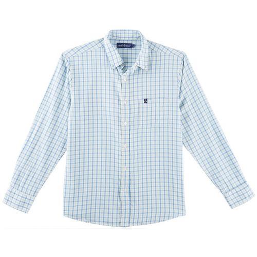 d14d17f5069 Tackle   Tides Mens Plaid Print Long Sleeve Shirt