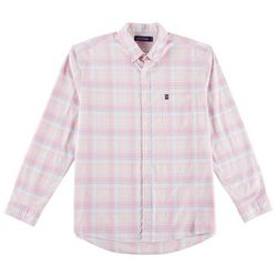 Tackle & Tides Mens Stretch Oxford Plaid Long Sleeve Shirt