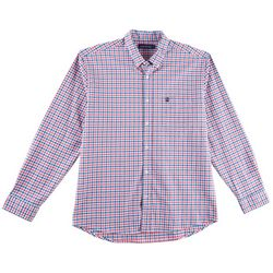 Tackle & Tides Mens Stretch Gingham Plaid Long Sleeve Shirt