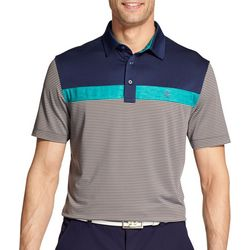 IZOD Golf Mens Performance Greenie Block Stripe Polo Shirt