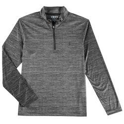 IZOD Golf Mens Space Dye Quarter Zip Long Sleeve Shirt