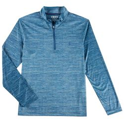 IZOD Golf Mens Space Dye Quarter Zip Long Sleeve Shirt
