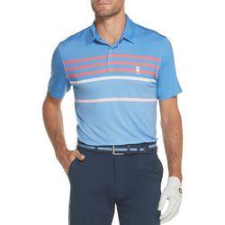 IZOD Golf Mens Fern Stripe Print Polo Shirt