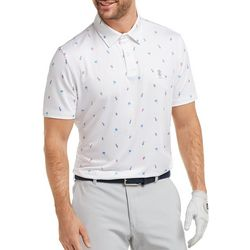 IZOD Golf Mens Pineapple & Palm Tree Print Polo Shirt