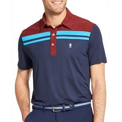 IZOD Golf Mens Colorblocked Stripe Polo Shirt