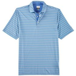 Greg Norman Collection Mens Stripe Print Fineline Polo Shirt