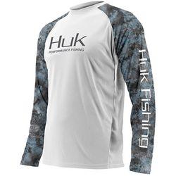 Huk Mens Double Header Camo Raglan Performance T-Shirt