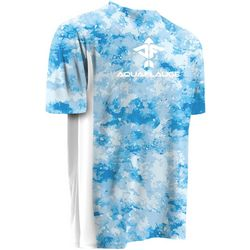 AquaFlauge Mens Large Cloud Print Mesh Panel T-Shirt