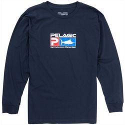 PELAGIC Mens Deluxe Logo Long Sleeve Fishing T-Shirt