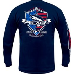 PELAGIC Mens Patriotic Marlin Long Sleeve T-Shirt