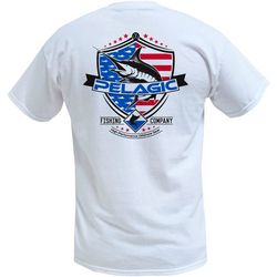 PELAGIC Mens Patriotic Marlin Short Sleeve T-Shirt