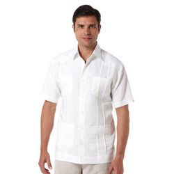 Cubavera Mens Button Flap Pockets Embroidered Shirt