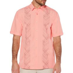 Cubavera Mens Chevron Embroidered Panel Shirt