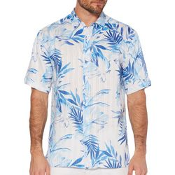 Cubavera Mens Tropical Leaves Print Linen Shirt
