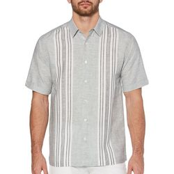 Cubavera Mens Engineered Yarn Dye Panel Shirt