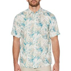 Cubavera Mens Tropical Leaf Print Linen Shirt