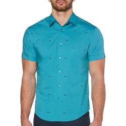 Cubavera Mens Slim Fit Mini Island Print Shirt