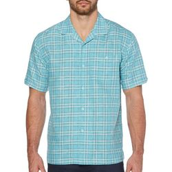 Cubavera Mens Windowpane Plaid Camp Collar Shirt