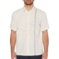 Cubavera Mens Textured Asymmetrical Bamboo Embroidery Shirt