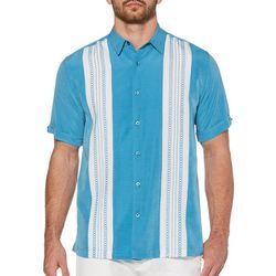 Cubavera Mens Textured Colorblock Panel Embroidery Shirt