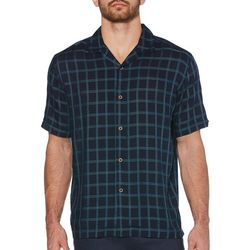Cubavera Mens Windowpane Print Shirt