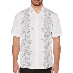 Cubavera Mens Leaf Vertical Embroidered Panel Shirt