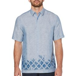 Cubavera Mens Leafy Palms Lattice Border Shirt