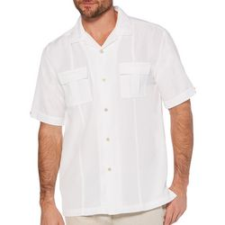 Cubavera Mens Linen Panel Chest Pockets Shirt