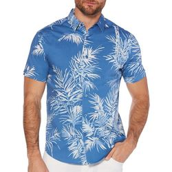 Cubavera Mens Slim Fit Palm Leaf Print Shirt