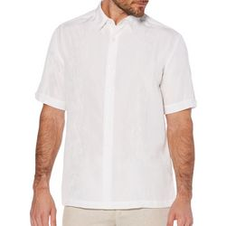 Cubavera Mens Textured Floral Panel Embroidery Shirt