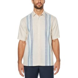 Cubavera Mens Engineered Panel Linen Shirt
