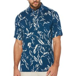 Cubavera Mens Stretch Woven Tropical Polo Shirt