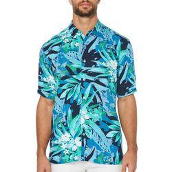 Cubavera Mens Textured Leaves Short Sleeve Shirt