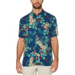 Cubavera Mens Pineapple Textured Woven Shirt