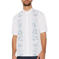 Cubavera Mens Tropical Engineered Panel Short Sleeve Shirt