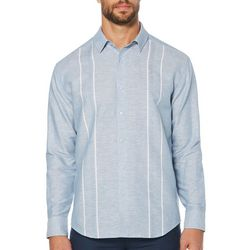 Cubavera Mens Engineered Panel Long Sleeve Shirt