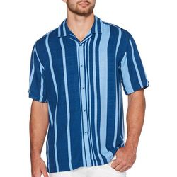 Cubavera Mens Oversized Retro Striped Button Down Shirt