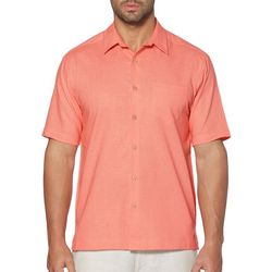 Cubavera Mens Short Sleeve Pocket Woven Shirt